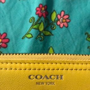 Yellow coach leather wallet